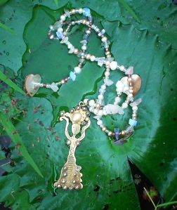 Self Esteem Necklace by Jelila with pearl and moonstone, with Offerings Woman pendant (gold plate on sterling silver) - www.jelila.com