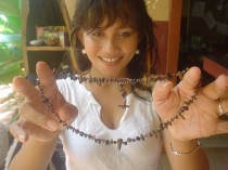 Jelila's adjustable Detox necklace, 50cm, with black onyx to absorb negativity, garnet to ground you, & tiger's eye crystals to pull negativity away from you.  Wear it to feel positive. Buy Online: http://www.etsy.com/shop/JelilaHealing?section_id=11290513