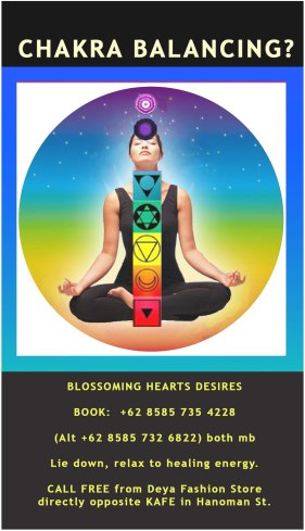 Want to balance your Chakras?  Chakra Balancing with Jelila Online and in Asia Bali Ubud - www.jelila.com