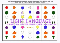 Want to define energies to support Achieving a Goal?  49 Shaped Light Language Grid - Sacred Geometries with Jelila - www.jelila.com