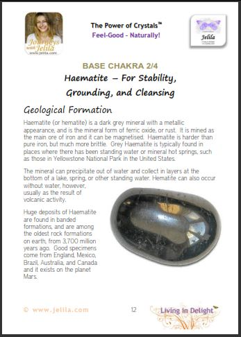 Base Chakra Crystals - Haematite for Stability and Grounding - from The Power of Crystals book by Jelila available on Amazon and Kindle and at www.jelila.com